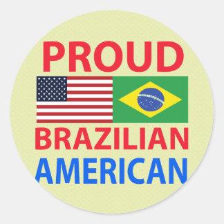 Proud Brazilian American Classic Round Sticker