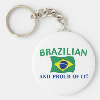 Proud Brazilian Basic Round Button Keychain