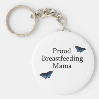 Proud Breastfeeding Mama Blue Butterflies Keychain