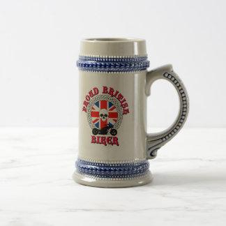Proud British Biker Drinking Stein
