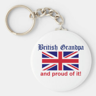 Proud British Grandpa Basic Round Button Keychain