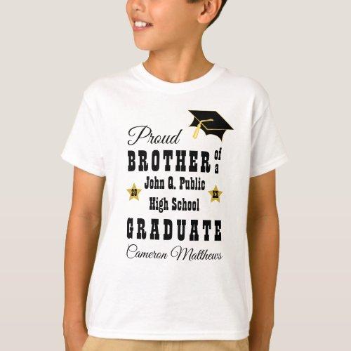 Proud Brother of Graduate Name  School Graduation T_Shirt