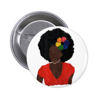 Proud Brown Lady Pinback Button