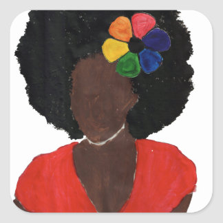 Proud Brown Lady Square Sticker