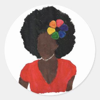 Proud Brown Lady Round Sticker