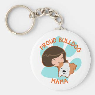 Proud Bulldog Mom Basic Round Button Keychain