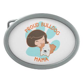 Proud Bulldog Mom Oval Belt Buckles