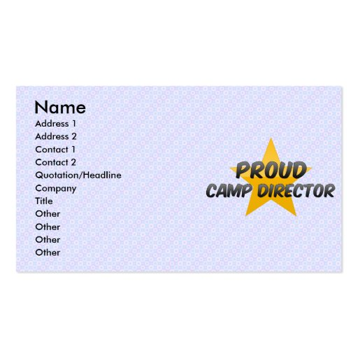 Proud Camp Director Business Cards