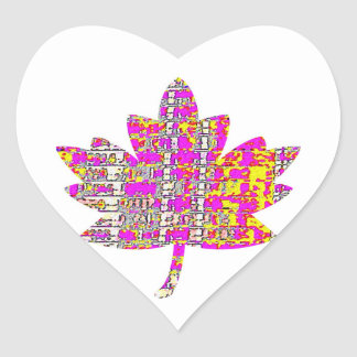 PROUD CANADIAN - Floral Pink Maple Leaf Heart Sticker