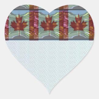 PROUD CANADIAN MAPLE LEAF Pattern Heart Sticker