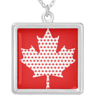 Proud Canadian Red and White Maple Leaf Silver Plated Necklace