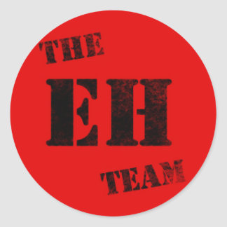Proud Canadian The EH Team Black Stamp on Red Classic Round Sticker