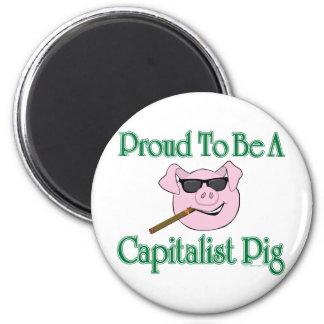 Proud Capitalist Pig 2 Inch Round Magnet