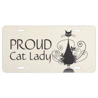 Proud Cat Lady & Black Cat Family License Plate 1
