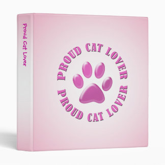 Proud Cat Lover 3 Ring Binder