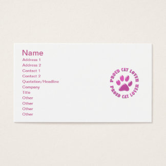 Proud Cat Lover Business Card