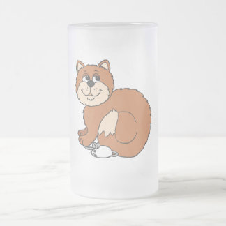 Proud Cat sitting on Mouse Frosted Glass Beer Mug