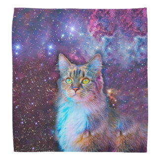Proud Cat With Space Background Bandana