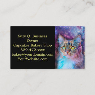 Space business cards templates zazzle proud cat with space background business card colourmoves