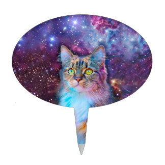 Proud Cat With Space Background Cake Topper
