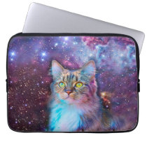 Proud Cat With Space Background Computer Sleeve