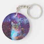 Proud Cat With Space Background Double-Sided Round Acrylic Keychain