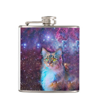 Proud Cat With Space Background Flask