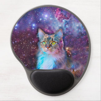 Proud Cat With Space Background Gel Mouse Pad