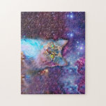 "Proud Cat With Space Background Jigsaw Puzzle<br><div class=""desc"">funny cats , cute kittens , cute cats , cat  meme space purple,  universe lovable cosmic galaxy , staring sky pink beautiful , cats background funny cool , animal cosmos stars pet ,  look kitty kitten psychedelic,  adorable proud domestic feline, </div>"