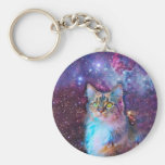 Proud Cat With Space Background Keychain