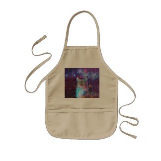 Proud Cat With Space Background Kids' Apron
