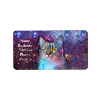 Proud Cat With Space Background Label