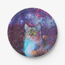Proud Cat With Space Background Paper Plate