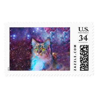 Proud Cat With Space Background Postage