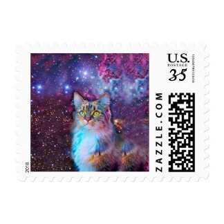 Proud Cat With Space Background Postage Stamp