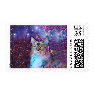Proud Cat With Space Background Stamp