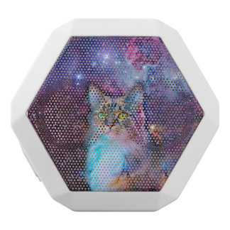 Proud Cat With Space Background White Bluetooth Speaker