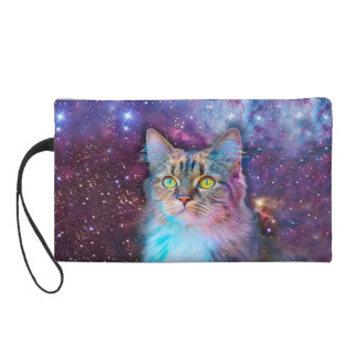 Proud Cat With Space Background Wristlet Purse