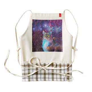 Proud Cat With Space Background Zazzle HEART Apron