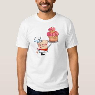 Proud Chef Holds Up Cake Shirt