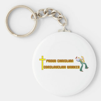 Proud Christian Construction Worker design Keychains