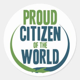Proud Citizen of the World Classic Round Sticker