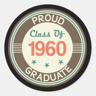 Proud Class of 1960 Graduate Classic Round Sticker