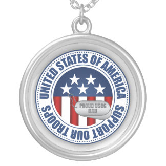 Proud Coast Guard Dad Silver Plated Necklace