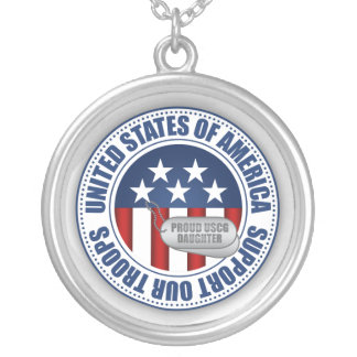 Proud Coast Guard Daughter Silver Plated Necklace