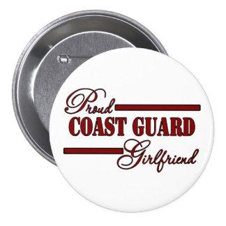 Proud Coast Guard Girlfriend (Red N Black) 3 Inch Round Button