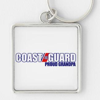 Proud Coast Guard Grandpa Silver-Colored Square Keychain