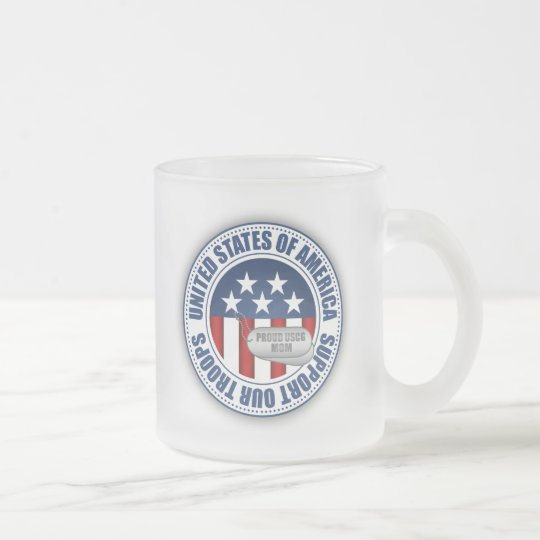 Proud Coast Guard Mom Frosted Glass Coffee Mug