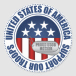Proud Coast Guard Mother Classic Round Sticker