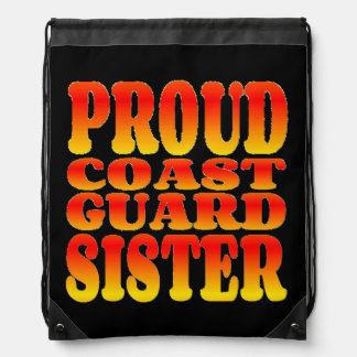 Proud Coast Guard Sister in Cheerful Colors Drawstring Backpacks